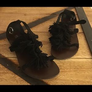 Mossimo Supply Co - Black Suede Fringe Flat Sandal